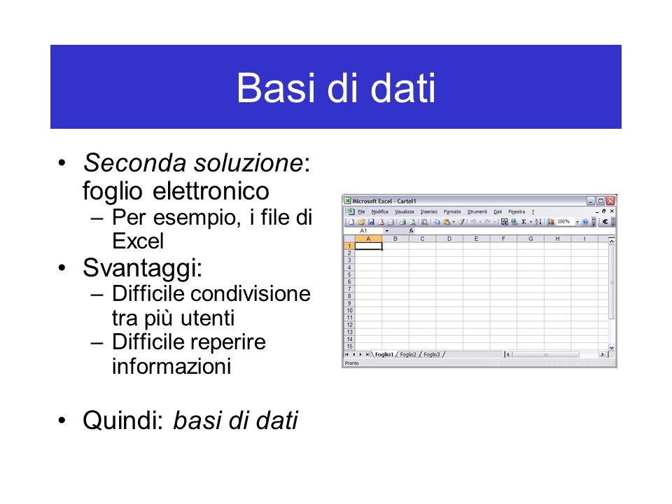 Basi di dati Seconda soluzione: foglio elettronico –Per esempio, i file di Excel Svantaggi: –Difficile condivisione tra più utenti –Difficile reperire informazioni Quindi: basi di dati