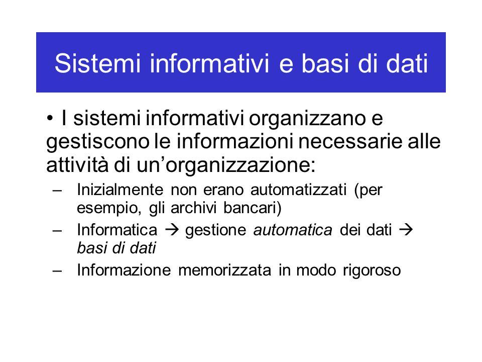 Sistemi informativi e basi di dati I sistemi informativi organizzano e gestiscono le informazioni necessarie alle attività di un'organizzazione: –Inizialmente non erano automatizzati (per esempio, gli archivi bancari) –Informatica  gestione automatica dei dati  basi di dati –Informazione memorizzata in modo rigoroso