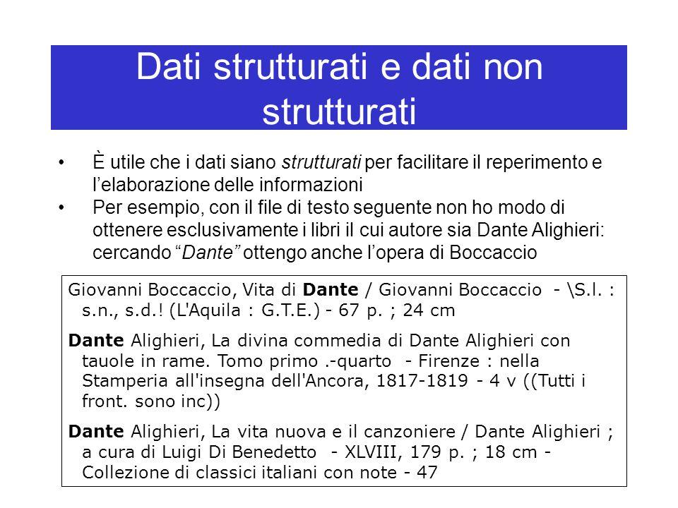 Dati strutturati e dati non strutturati È utile che i dati siano strutturati per facilitare il reperimento e l'elaborazione delle informazioni Per esempio, con il file di testo seguente non ho modo di ottenere esclusivamente i libri il cui autore sia Dante Alighieri: cercando Dante ottengo anche l'opera di Boccaccio Giovanni Boccaccio, Vita di Dante / Giovanni Boccaccio - \S.l.