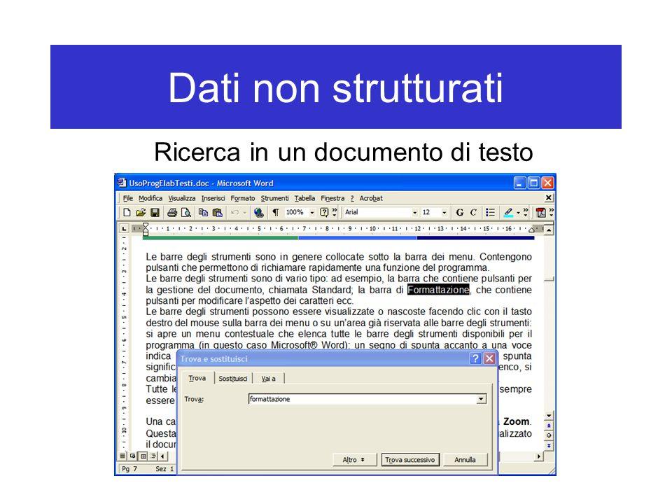 Dati non strutturati Ricerca in un documento di testo