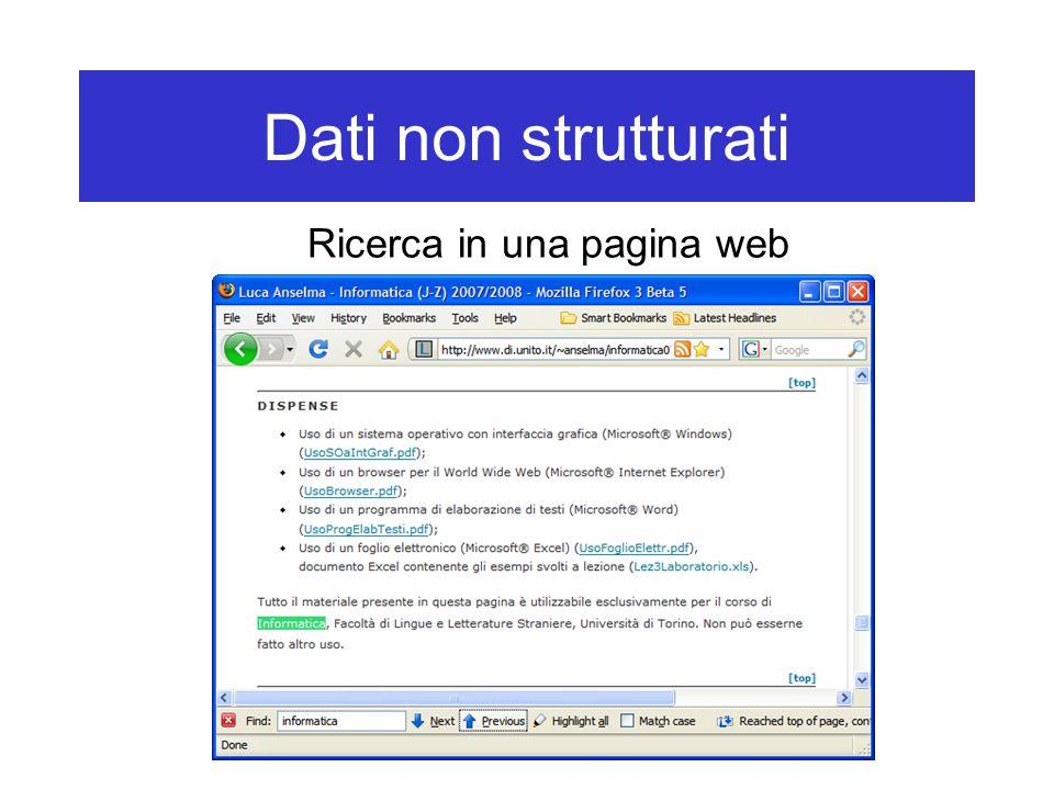 Dati non strutturati Ricerca in una pagina web