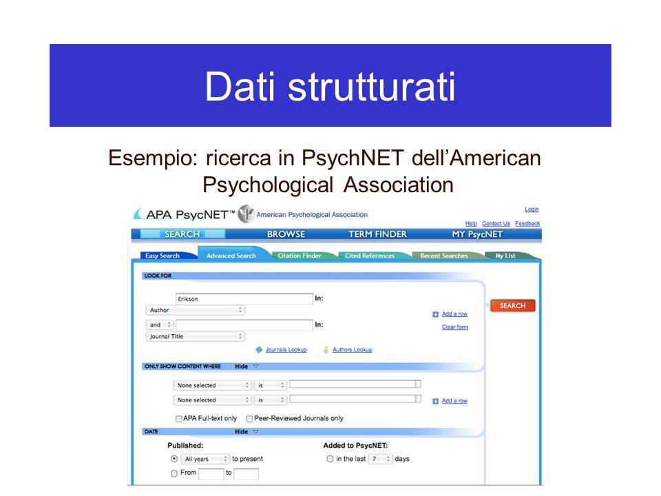 Dati strutturati Esempio: ricerca in PsychNET dell'American Psychological Association