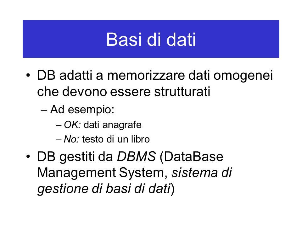 Basi di dati DB adatti a memorizzare dati omogenei che devono essere strutturati –Ad esempio: –OK: dati anagrafe –No: testo di un libro DB gestiti da DBMS (DataBase Management System, sistema di gestione di basi di dati)