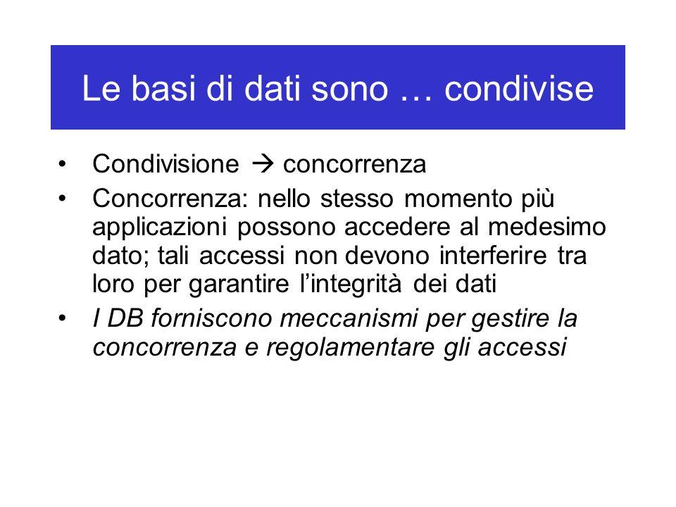 Le basi di dati sono … condivise Condivisione  concorrenza Concorrenza: nello stesso momento più applicazioni possono accedere al medesimo dato; tali accessi non devono interferire tra loro per garantire l'integrità dei dati I DB forniscono meccanismi per gestire la concorrenza e regolamentare gli accessi