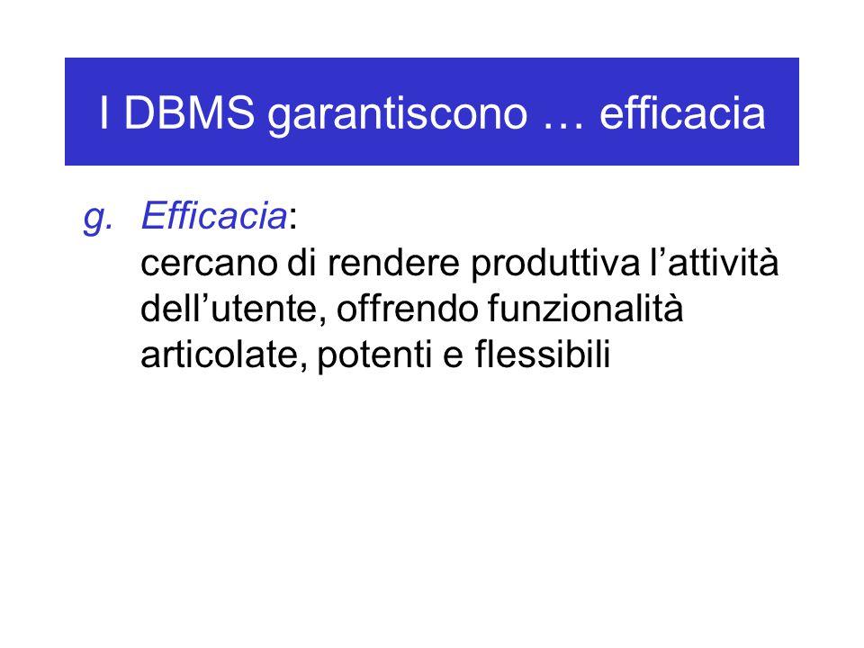 I DBMS garantiscono … efficacia g.Efficacia: cercano di rendere produttiva l'attività dell'utente, offrendo funzionalità articolate, potenti e flessib
