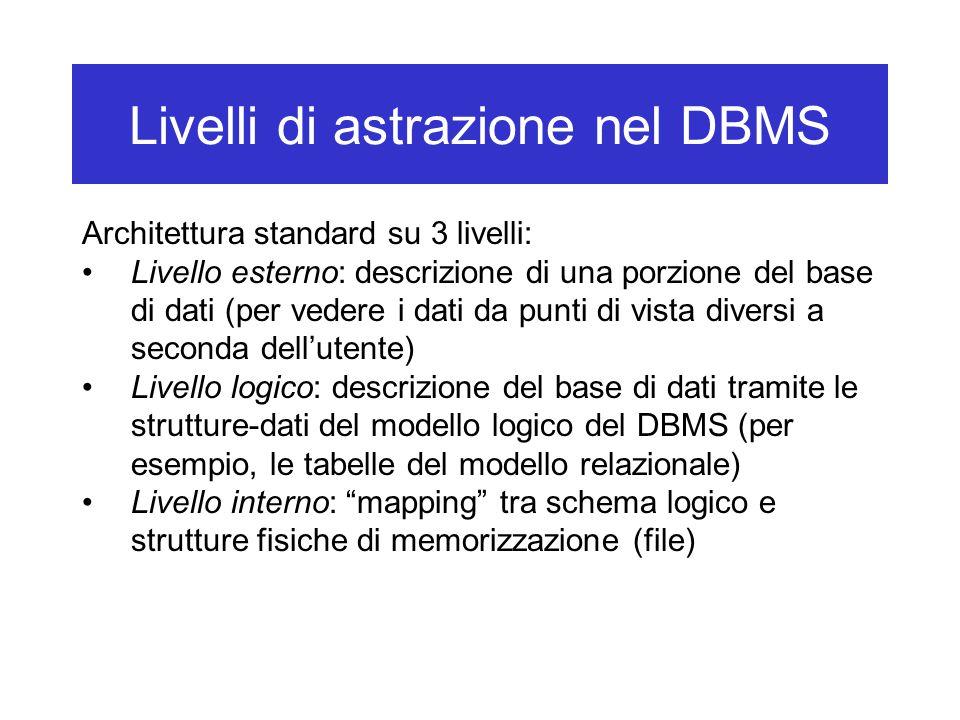 Livelli di astrazione nel DBMS Architettura standard su 3 livelli: Livello esterno: descrizione di una porzione del base di dati (per vedere i dati da punti di vista diversi a seconda dell'utente) Livello logico: descrizione del base di dati tramite le strutture-dati del modello logico del DBMS (per esempio, le tabelle del modello relazionale) Livello interno: mapping tra schema logico e strutture fisiche di memorizzazione (file)