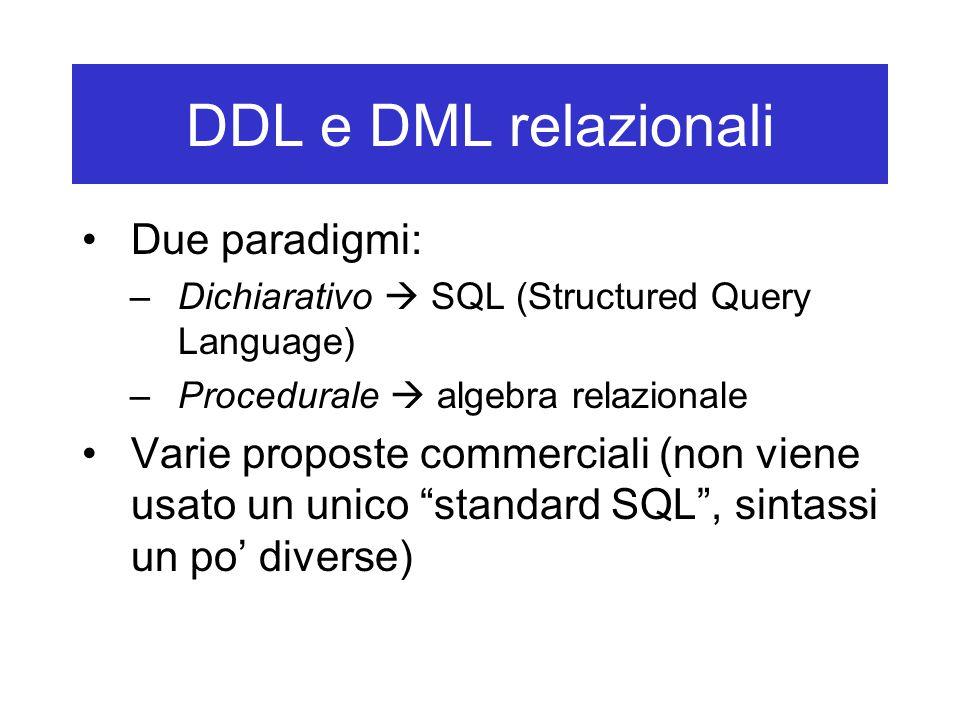 DDL e DML relazionali Due paradigmi: –Dichiarativo  SQL (Structured Query Language) –Procedurale  algebra relazionale Varie proposte commerciali (non viene usato un unico standard SQL , sintassi un po' diverse)