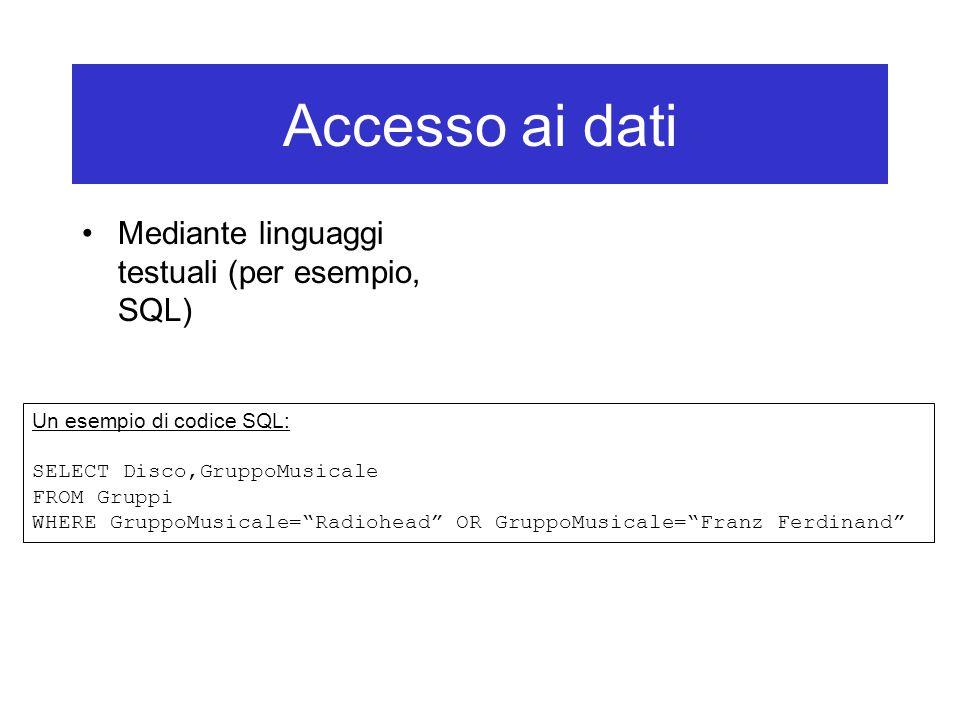 Accesso ai dati Mediante linguaggi testuali (per esempio, SQL) Un esempio di codice SQL: SELECT Disco,GruppoMusicale FROM Gruppi WHERE GruppoMusicale= Radiohead OR GruppoMusicale= Franz Ferdinand