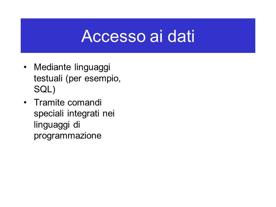 Accesso ai dati Mediante linguaggi testuali (per esempio, SQL) Tramite comandi speciali integrati nei linguaggi di programmazione