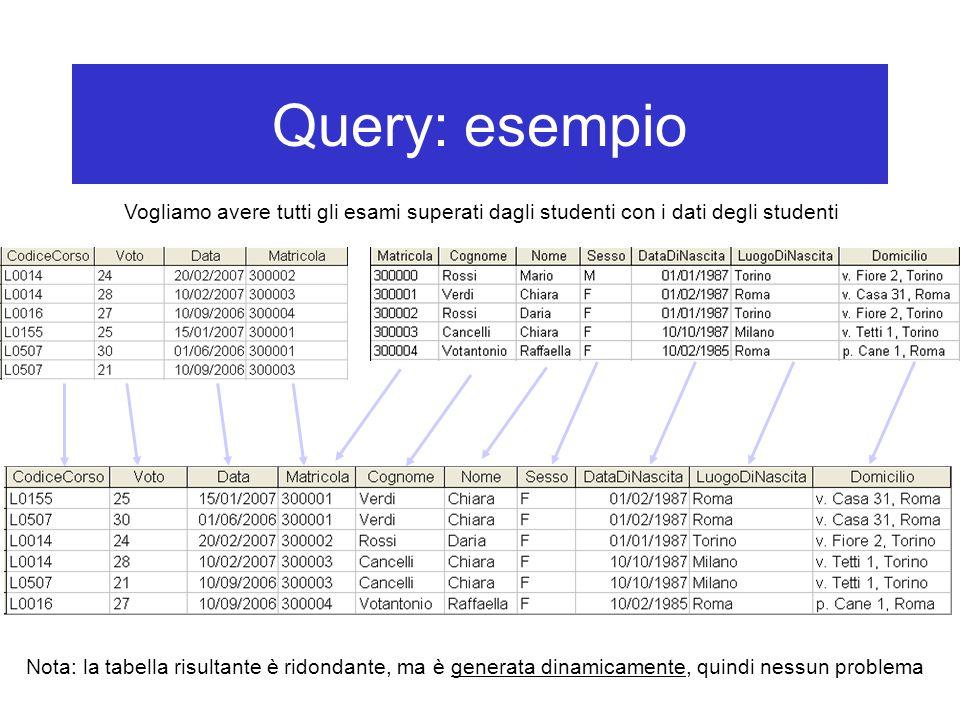 Query: esempio Vogliamo avere tutti gli esami superati dagli studenti con i dati degli studenti Nota: la tabella risultante è ridondante, ma è generata dinamicamente, quindi nessun problema