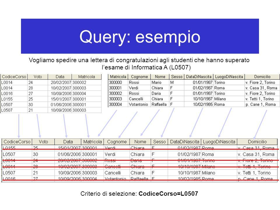 Query: esempio Vogliamo spedire una lettera di congratulazioni agli studenti che hanno superato l'esame di Informatica A (L0507) Criterio di selezione: CodiceCorso=L0507