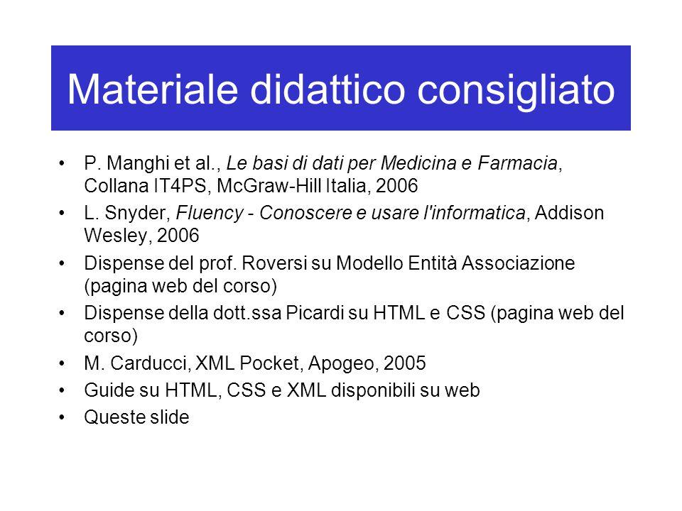 Materiale didattico consigliato P. Manghi et al., Le basi di dati per Medicina e Farmacia, Collana IT4PS, McGraw-Hill Italia, 2006 L. Snyder, Fluency