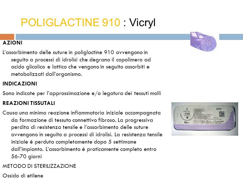 AZIONI L'assorbimento delle suture in poliglactine 910 avvengono in seguito a processi di idrolisi che degrano il copolimero ad acido glicolico e latt