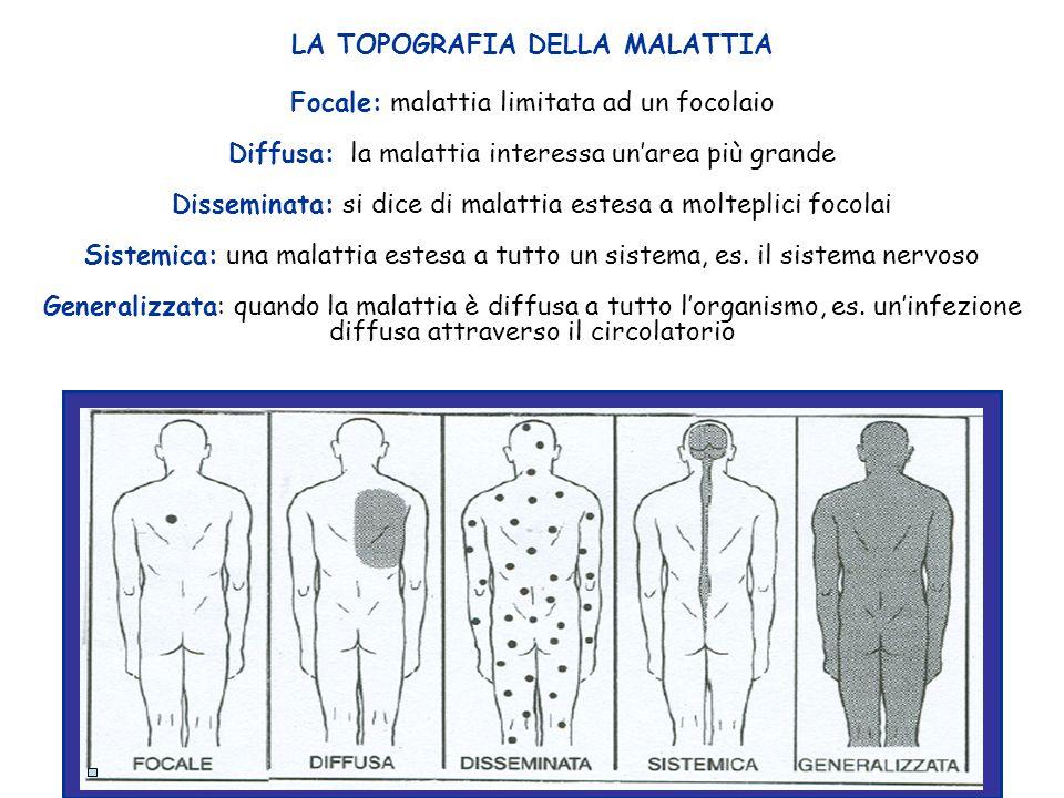 LA TOPOGRAFIA DELLA MALATTIA Focale: malattia limitata ad un focolaio Diffusa: la malattia interessa un'area più grande Disseminata: si dice di malatt