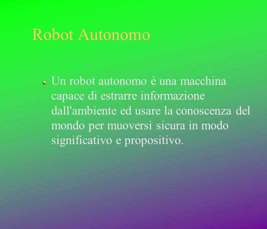 Robot Autonomo Un robot autonomo è una macchina capace di estrarre informazione dall'ambiente ed usare la conoscenza del mondo per muoversi sicura in