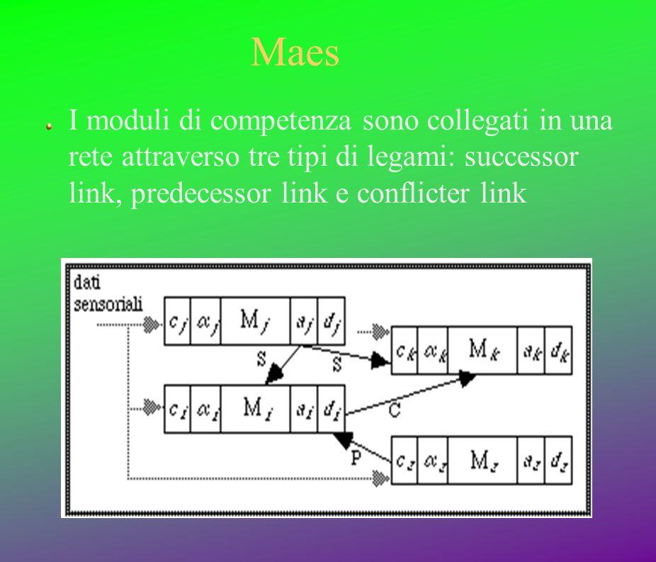 Maes I moduli di competenza sono collegati in una rete attraverso tre tipi di legami: successor link, predecessor link e conflicter link