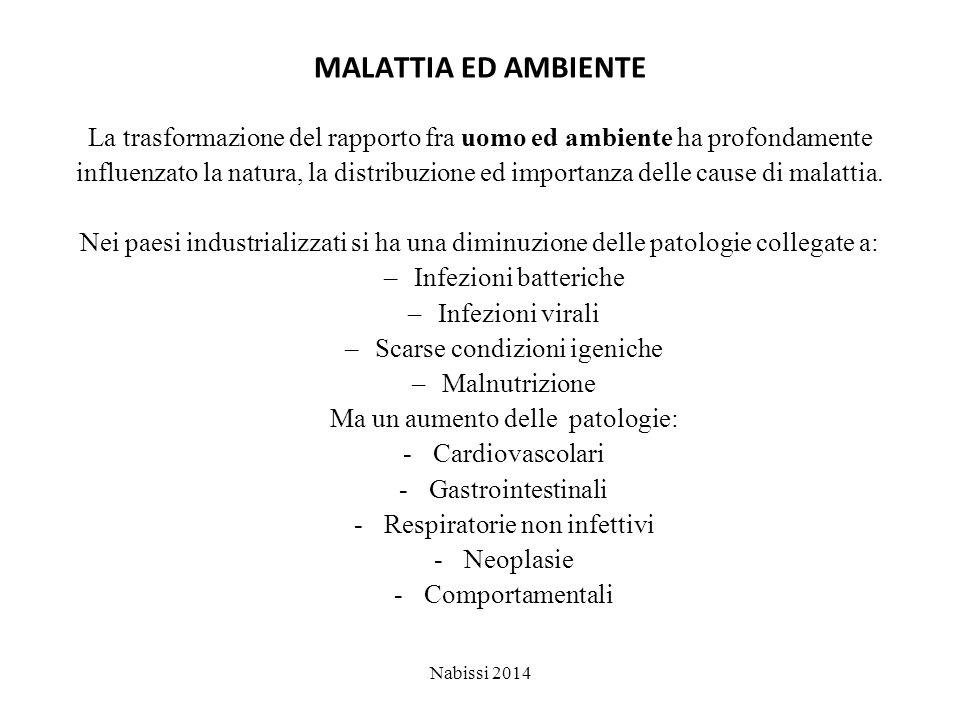 MALATTIA ED AMBIENTE La trasformazione del rapporto fra uomo ed ambiente ha profondamente influenzato la natura, la distribuzione ed importanza delle cause di malattia.