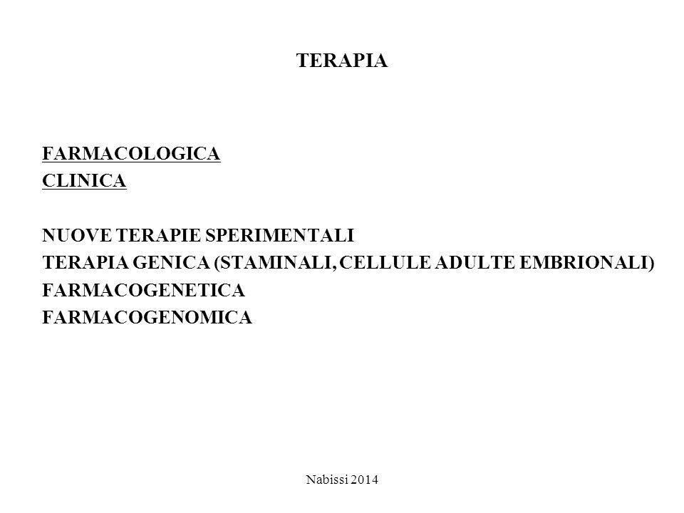 TERAPIA FARMACOLOGICA CLINICA NUOVE TERAPIE SPERIMENTALI TERAPIA GENICA (STAMINALI, CELLULE ADULTE EMBRIONALI) FARMACOGENETICA FARMACOGENOMICA Nabissi 2014