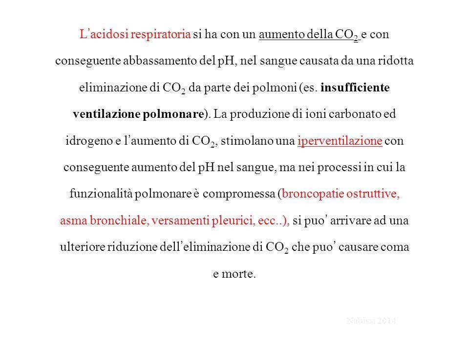 L'acidosi respiratoria si ha con un aumento della CO 2 e con conseguente abbassamento del pH, nel sangue causata da una ridotta eliminazione di CO 2 da parte dei polmoni (es.