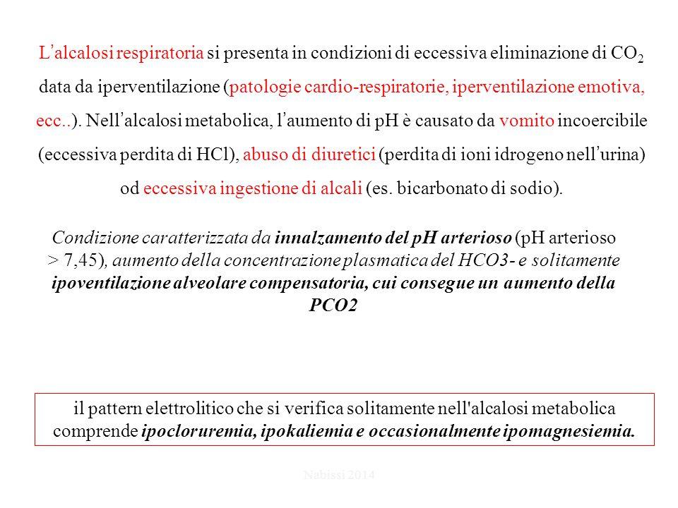 L'alcalosi respiratoria si presenta in condizioni di eccessiva eliminazione di CO 2 data da iperventilazione (patologie cardio-respiratorie, iperventilazione emotiva, ecc..).
