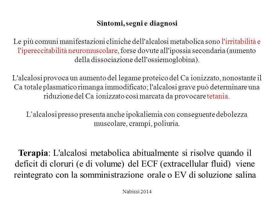 Nabissi 2014 Sintomi, segni e diagnosi Le più comuni manifestazioni cliniche dell alcalosi metabolica sono l irritabilità e l ipereccitabilità neuromuscolare, forse dovute all ipossia secondaria (aumento della dissociazione dell ossiemoglobina).