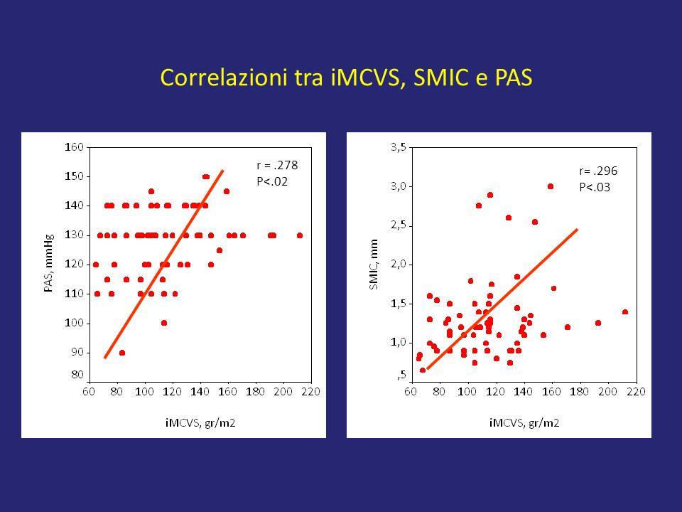 Correlazioni tra iMCVS, SMIC e PAS r =.278 P<.02 r=.296 P<.03