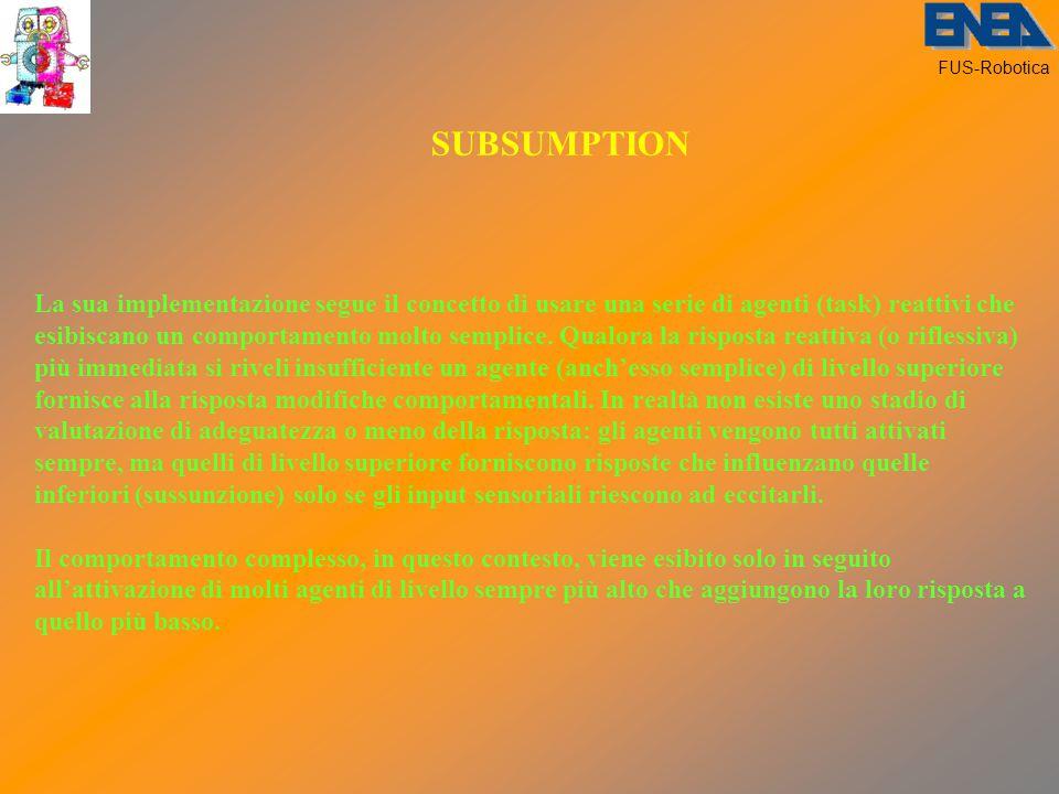 FUS-Robotica SUBSUMPTION La sua implementazione segue il concetto di usare una serie di agenti (task) reattivi che esibiscano un comportamento molto semplice.