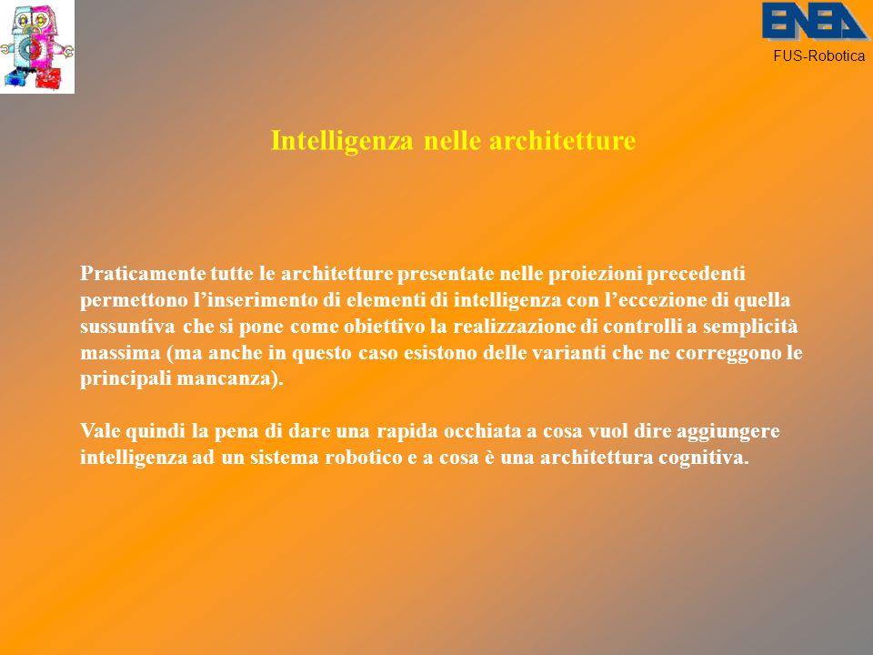 FUS-Robotica Intelligenza nelle architetture Praticamente tutte le architetture presentate nelle proiezioni precedenti permettono l'inserimento di elementi di intelligenza con l'eccezione di quella sussuntiva che si pone come obiettivo la realizzazione di controlli a semplicità massima (ma anche in questo caso esistono delle varianti che ne correggono le principali mancanza).