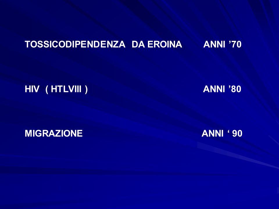 TOSSICODIPENDENZA DA EROINA ANNI '70 HIV ( HTLVIII ) ANNI '80 MIGRAZIONE ANNI ' 90
