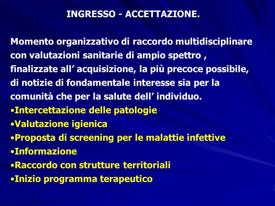 INGRESSO - ACCETTAZIONE. Momento organizzativo di raccordo multidisciplinare con valutazioni sanitarie di ampio spettro, finalizzate all' acquisizione