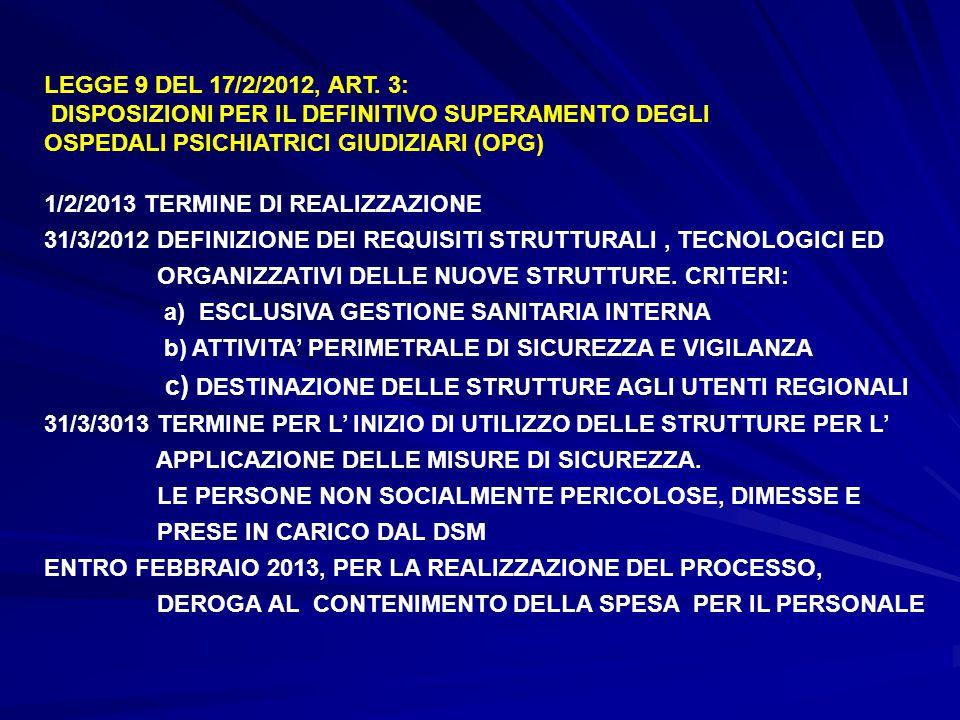 LEGGE 9 DEL 17/2/2012, ART. 3: DISPOSIZIONI PER IL DEFINITIVO SUPERAMENTO DEGLI OSPEDALI PSICHIATRICI GIUDIZIARI (OPG) 1/2/2013 TERMINE DI REALIZZAZIO