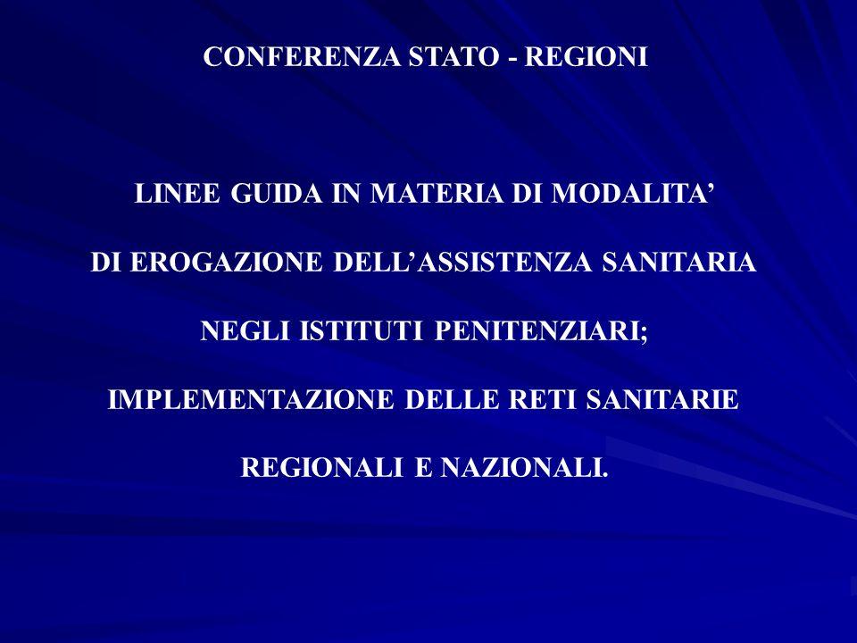 CONFERENZA STATO - REGIONI LINEE GUIDA IN MATERIA DI MODALITA' DI EROGAZIONE DELL'ASSISTENZA SANITARIA NEGLI ISTITUTI PENITENZIARI; IMPLEMENTAZIONE DE