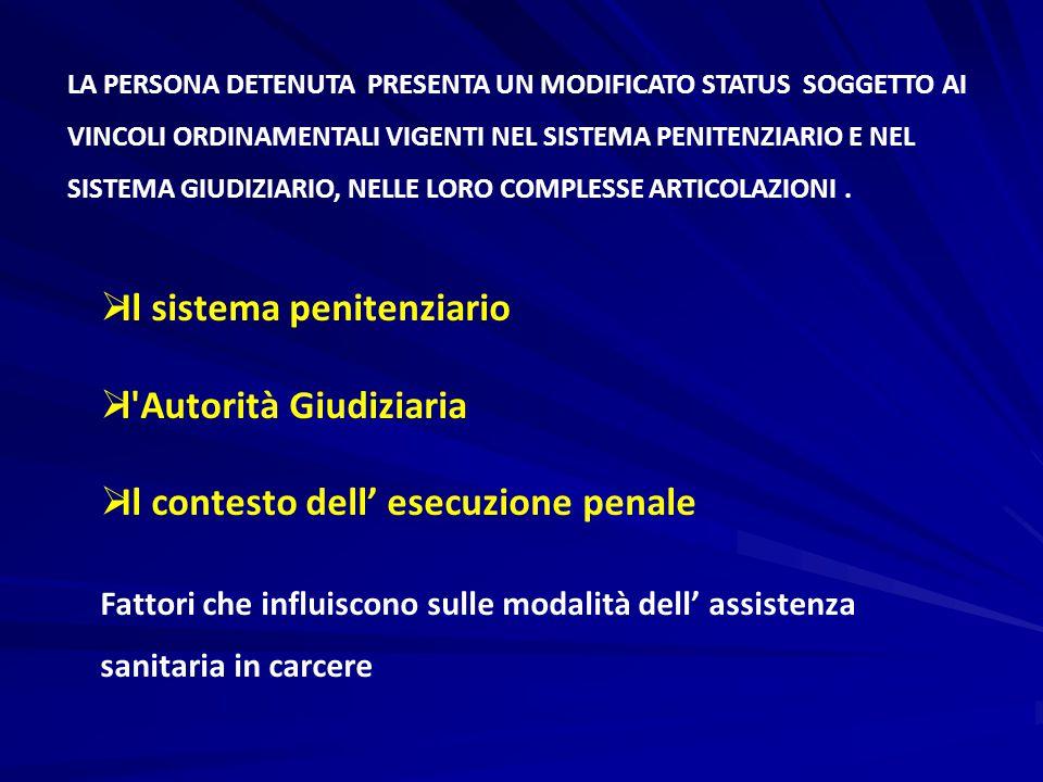 LA PERSONA DETENUTA PRESENTA UN MODIFICATO STATUS SOGGETTO AI VINCOLI ORDINAMENTALI VIGENTI NEL SISTEMA PENITENZIARIO E NEL SISTEMA GIUDIZIARIO, NELLE