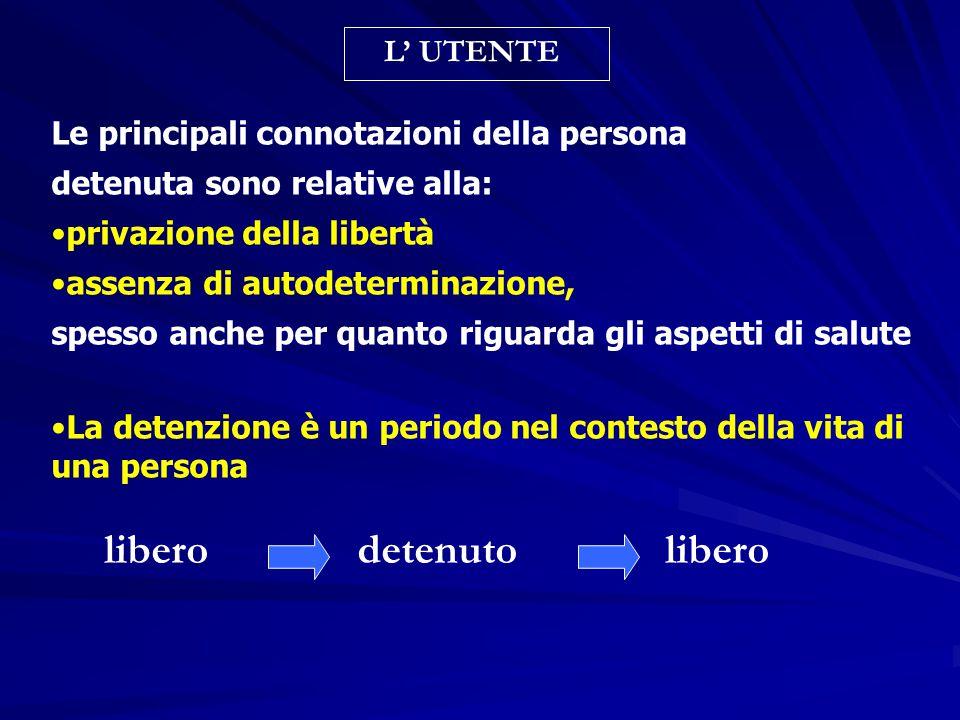 Le principali connotazioni della persona detenuta sono relative alla: privazione della libertà assenza di autodeterminazione, spesso anche per quanto