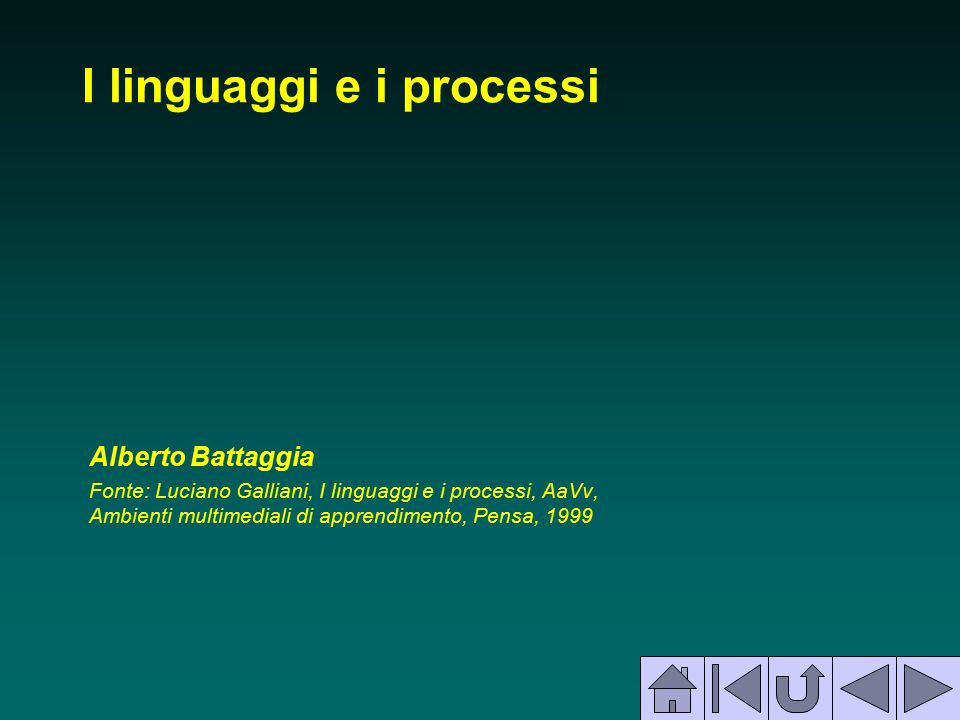 I linguaggi e i processi Alberto Battaggia Fonte: Luciano Galliani, I linguaggi e i processi, AaVv, Ambienti multimediali di apprendimento, Pensa, 199