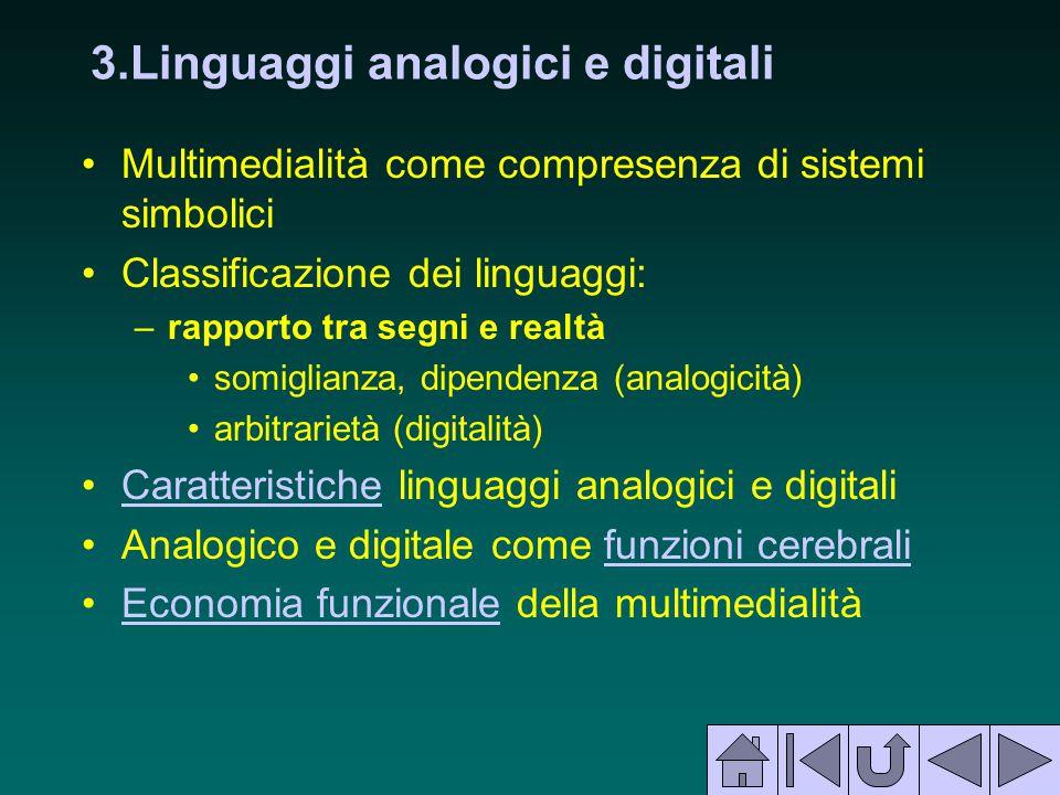 3.Linguaggi analogici e digitali Multimedialità come compresenza di sistemi simbolici Classificazione dei linguaggi: –rapporto tra segni e realtà somi