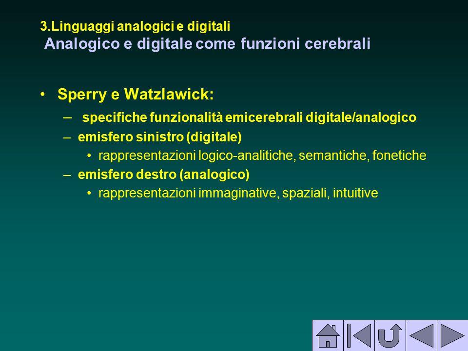 3.Linguaggi analogici e digitali Analogico e digitale come funzioni cerebrali Sperry e Watzlawick: – specifiche funzionalità emicerebrali digitale/ana