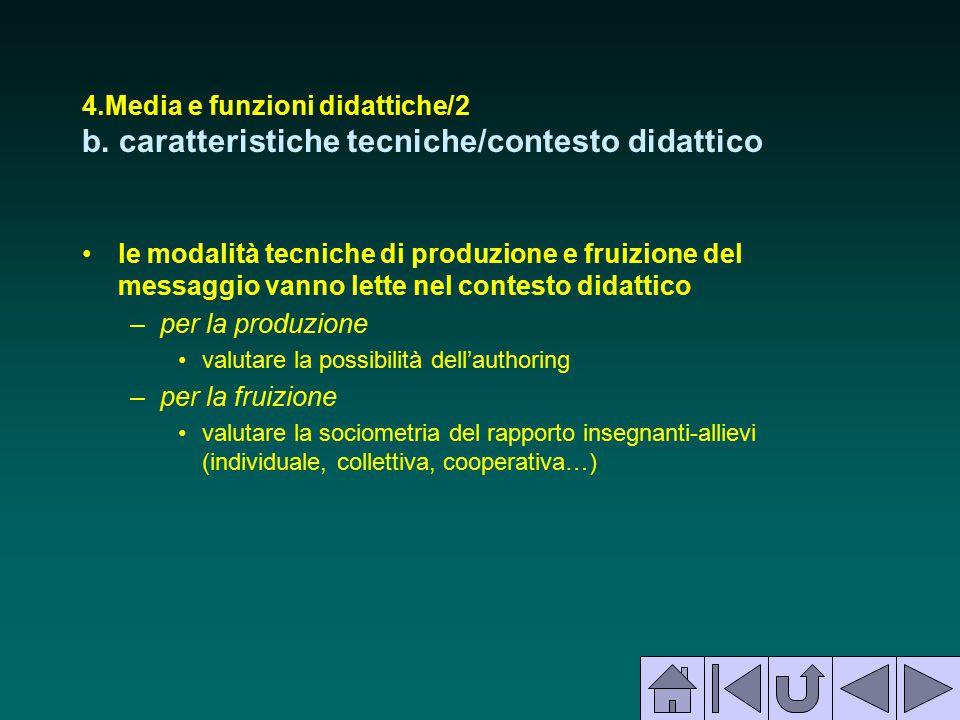 4.Media e funzioni didattiche/2 b. caratteristiche tecniche/contesto didattico le modalità tecniche di produzione e fruizione del messaggio vanno lett