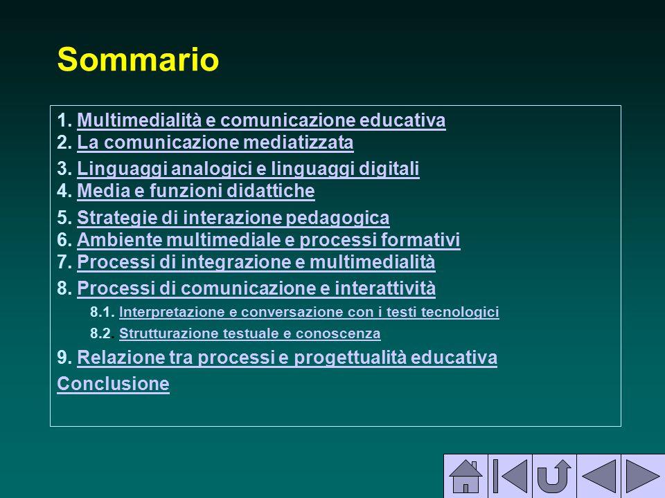 Sommario 1. Multimedialità e comunicazione educativa 2. La comunicazione mediatizzataMultimedialità e comunicazione educativaLa comunicazione mediatiz