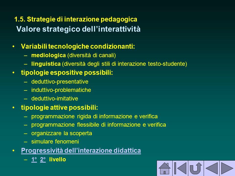 1.5. Strategie di interazione pedagogica Valore strategico dell'interattività Variabili tecnologiche condizionanti: –mediologica (diversità di canali)
