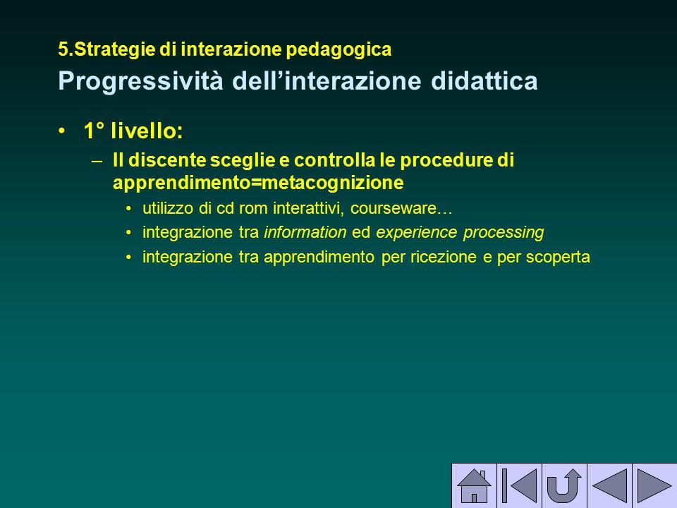 5.Strategie di interazione pedagogica Progressività dell'interazione didattica 1° livello: –Il discente sceglie e controlla le procedure di apprendime