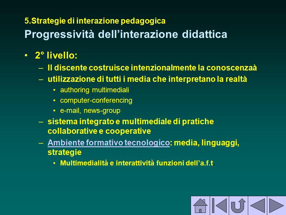 5.Strategie di interazione pedagogica Progressività dell'interazione didattica 2° livello: –Il discente costruisce intenzionalmente la conoscenzaà –ut