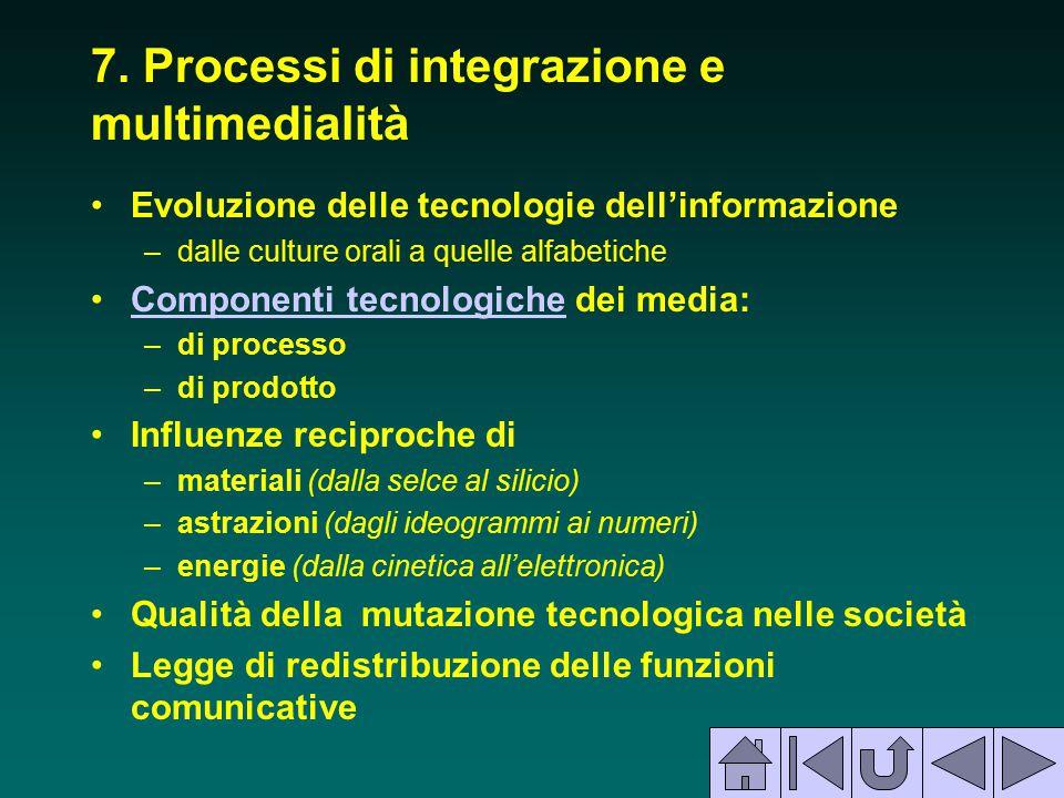 7. Processi di integrazione e multimedialità Evoluzione delle tecnologie dell'informazione –dalle culture orali a quelle alfabetiche Componenti tecnol