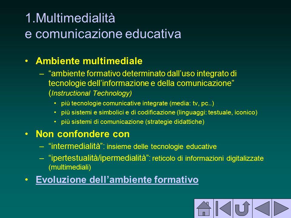 """1.Multimedialità e comunicazione educativa Ambiente multimediale –""""ambiente formativo determinato dall'uso integrato di tecnologie dell'informazione e"""