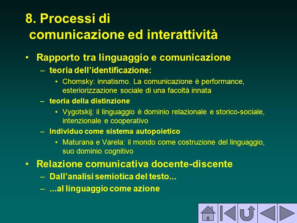 8. Processi di comunicazione ed interattività Rapporto tra linguaggio e comunicazione –teoria dell'identificazione: Chomsky: innatismo. La comunicazio