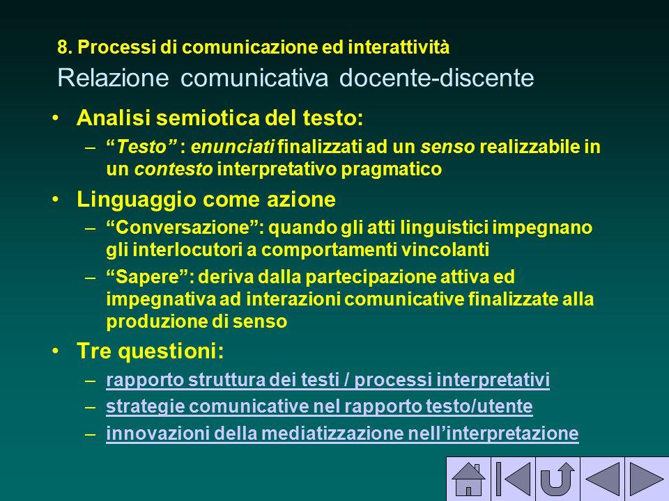 """8. Processi di comunicazione ed interattività Relazione comunicativa docente-discente Analisi semiotica del testo: –""""Testo"""" : enunciati finalizzati ad"""