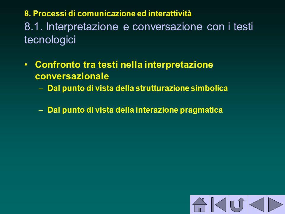 8. Processi di comunicazione ed interattività 8.1. Interpretazione e conversazione con i testi tecnologici Confronto tra testi nella interpretazione c