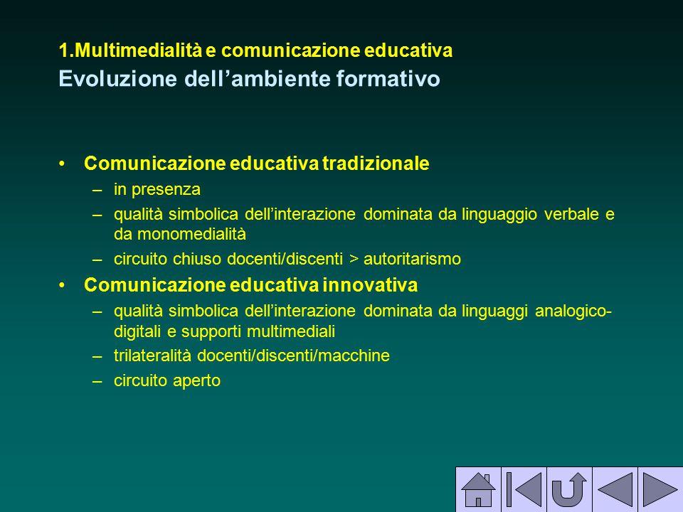 1.Multimedialità e comunicazione educativa Evoluzione dell'ambiente formativo Comunicazione educativa tradizionale –in presenza –qualità simbolica del