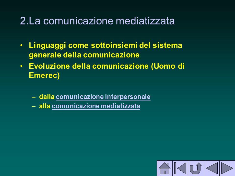 2.La comunicazione mediatizzata Linguaggi come sottoinsiemi del sistema generale della comunicazione Evoluzione della comunicazione (Uomo di Emerec) –