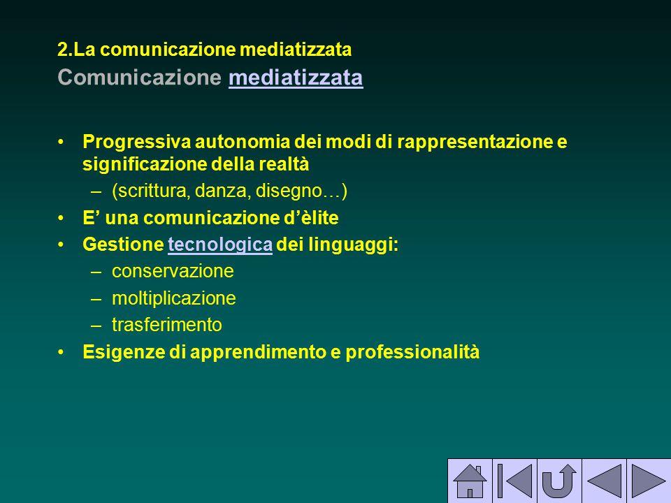 2.La comunicazione mediatizzata Comunicazione mediatizzatamediatizzata Progressiva autonomia dei modi di rappresentazione e significazione della realt